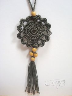 Pendant crochet cotton yarn of good quality gray color and st . - Elsabe Bornman - - Pendant crochet cotton yarn of good quality gray color and st . Crochet With Cotton Yarn, Love Crochet, Bead Crochet, Crochet Gifts, Diy Crochet, Crochet Flowers, Crochet Jewelry Patterns, Crochet Accessories, Textile Jewelry
