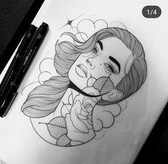 Tattoo Sketches, Tattoo Drawings, Drawing Sketches, Neo Tattoo, Tattoo Motive, Graffiti, Dibujos Tattoo, Face Sketch, Neo Traditional Tattoo