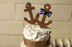 Nautical Anchor Bride & Groom Cake topper/Navy wedding/Coast guard wedding/Marine wedding/Veil  and top hat/mr and mrs/bow tie/brown/pearls/
