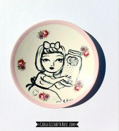 Hand painted trinket dish, upcycled vintage. by ArtistCarlaRose