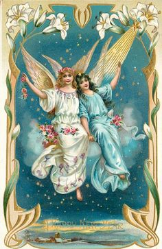 A HAPPY NEW YEAR  two angels sit on cloud and wave, ornate border