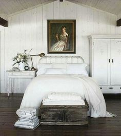 rustic white decor with a modern sense of simplicity. love the wood beams and white decor. Barn Bedrooms, Master Bedrooms, Sweet Home, Rustic White, White White, Rustic Wood, Rustic Stone, Rustic Decor, Distressed Wood