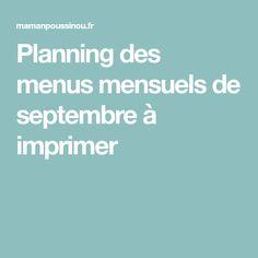 Planning des menus mensuels de septembre à imprimer