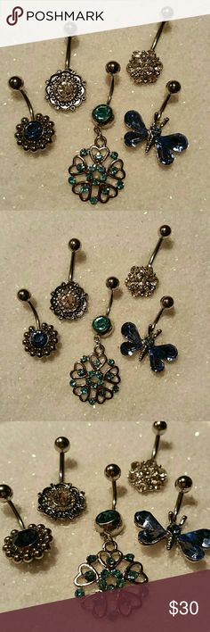 "5 NEW Butterfly & Flower Blue Clear Navel Ring Lot SET OF FIVE New, never used (as that is unsanitary, even when well cleaned) navel (belly button) body piercing jewelry. Surgical steel, standard 14g 1/2"" length curved / banana barbell, butterfly & floral designs, one dangle, one mandala, various shades of blue - sky, deep, aqua, and diamond clear.  More new body jewelry available in my closet!  Thank you for visiting, and happy poshing!! :)  SORRY, NO TRADES  BUNDLE & SAVE! Jewelry"