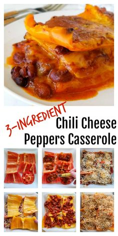 3-Ingredient Chili Cheese Peppers Casserole: Colored bell peppers take center stage in this easy casserole that features the comforting flavors of chili and cheese. Make it easy by using your favorite canned chili, and garnish with your favorites like avocado and salsa. #shockinglydelicious  #chilicheese  #peppers  #easycasserole