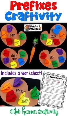 Prefix worksheet that becomes a craftivity! Perfect for a bulletin board or hall display! Includes the prefixes UN, RE, PRE, DIS, and MIS. a near display too. Reading Comprehension Activities, Reading Strategies, Reading Skills, Teaching Reading, Vocabulary Activities, Phonics Bulletin Board, Interactive Bulletin Boards, Interactive Notebooks, School Hallway Displays