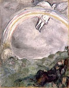 Rainbow in the sky, a sign of Covenant between God and Earth - Marc Chagall.  #art #artists #chagall