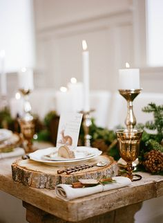 Gold, Amber, and Green Rustic Place Settings | Jacque Lynn Photography and Michelle Leo Events | Enchanting Woodland Wedding Shoot with Rustic Winter Details