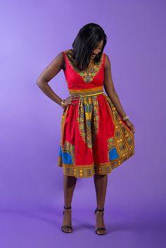 Red Dashiki dress dress Dashiki dress for women African
