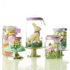 "Fill glass food jars with bulk candy arranged in colorful layers. Or create an Easter basket effect by nestling a white-chocolate bunny or lamb in green paper ""grass."" Finish with ribbon and a tag, or attach a note to the lid using double-sided tape."