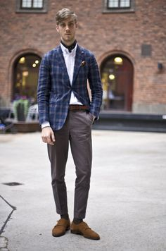 The brown accents  subtle accents on his jacket make this an easy dressier look.