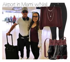 """""""Airport in Miami w/Niall"""" by anavi-magdalene ❤ liked on Polyvore featuring Topshop, Sophie Hulme, River Island, Native Union, Proenza Schouler, Ray-Ban and Wet Seal"""