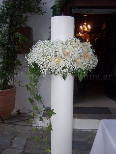Flower Decorations, Table Decorations, Greek Wedding, Gypsophila, Candles, Artist, Flowers, How To Make, Babies Breath