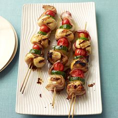 Scallop and Bacon Kabobs - bacon is threaded between the scallops and vegetables giving them great flavor