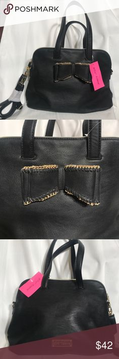 Betsy Johnson black bow bag. Betsy Johnson black bow bag. Brand new with tags. Could be worn several ways. Perfect condition Betsey Johnson Bags