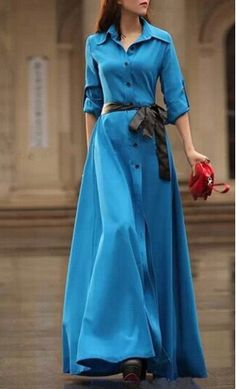 Womens floor length modeest solid color maxi dress with button detail and foldable sleeves available in blue and black S-XXL #maxidresses #blue #modestdresses #modestclothing
