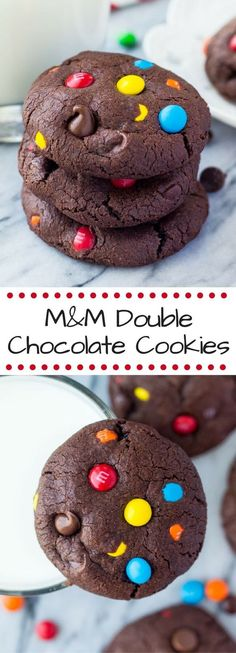 Fudgy, chewy, super soft M&M Double Chocolate Cookies! The perfect M&M chocolate chip cookies for true chocolate lovers!