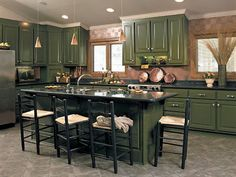 Image result for dark green kitchen cabinets