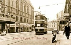 Number 3 tram from the city center Leeds, to Rounday Park, passing the Grand Theatre - 1950s