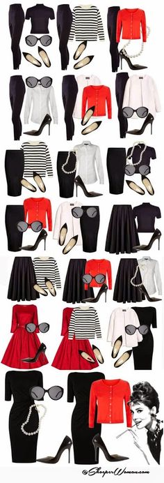 Audrey Hepburn style outfits from small capsule wardrobe. * I love the Audrey Hepburn look* Audrey Hepburn Outfit, Audrey Hepburn Inspired, Audrey Hepburn Fashion, Audry Hepburn Makeup, Audrey Hepburn Diet, Audrey Hepburn Bangs, Mode Outfits, Casual Outfits, Fashion Outfits