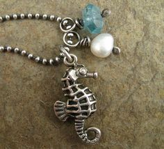 Sterling Silver Seahorse Necklace, Tropical Island Wedding Beach Jewelry Sea Blue Apatite Pearl Sea Horse Jewelry on Etsy, $62.00