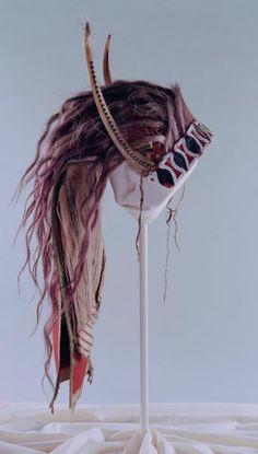 Osage split horn headdress, via Flickr.