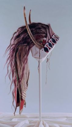 Osage split horn headdress, via Flickr.