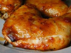 Caramelized Chicken…It is unbelievably delicious and so simple to make the marinade. Minced garlic, ketchup, olive oil, soy sauce, honey, and ground black pepper.