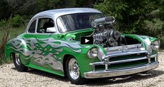 Rocking a killer paint job, sitting on fat Mickey Thompson's at the back and powered by blown 383 Stroker V8 motor this 1950 Chevy Styleline is a sweet hot rod!
