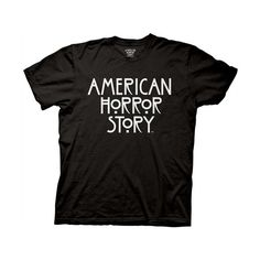 American Horror Story AHS Stacked T-Shirt - Black ($15) ❤ liked on Polyvore featuring tops, t-shirts, shirts, t shirts, american tops, american t shirt, americana t shirts and american tees