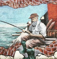 En av de finere gatekunsten i Haugesund☺️ #gatekunst #streetart #gatekunsthaugesund #streetarthaugesund #art #kunst #fiskermann #fisherman #fishing #painting #paintingart #instapainting #instaarts #haugesund #norway #norge #haugalandet #vestlandet #visitnorway