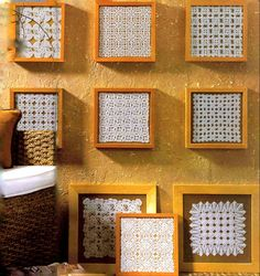 Framed lace crochet displayed in a group - inspiration from the January 2001 edition of Créations Crochet magazine, issue #28.