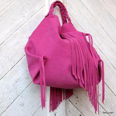 Pink Leather Hobo Bag with Fringe