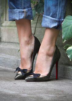 heels + cuffed denim