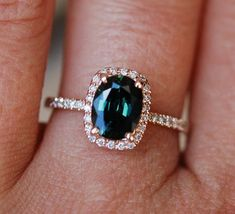 nice Green sapphire engagement ring. Peacock green sapphire 1.78ct cushion halo diamond  ring 14k Rose gold. Engagenet rings by Eidelprecious. Rings Check more at http://fashionye.top/pin/9662/