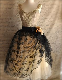 Black lace and nude tulle tutu skirt. Mlle. Chantilly Lace. French black chantilly lace over lined tutu skirt.. $235.00, via Etsy.