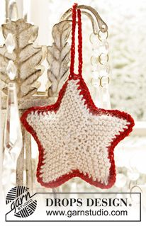 Knitted DROPS Christmas star in Cotton Viscose and Kid-Silk. Free knitting pattern by DROPS Design. Christmas Knitting Patterns, Knitting Patterns Free, Free Knitting, Free Pattern, Crochet Patterns, Finger Knitting, Scarf Patterns, Knitting Tutorials, Easy Christmas Crafts