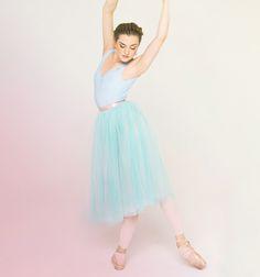 Kremlin Ballet principal dancer Joy Womack in our romantic, ballet-inspired tulle skirt in seafoam/Giselle blue.
