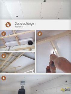 Decke abhängen Anleitung - Trockenbau auf einer Holz-Unterkonstruktion. Dieser Teil zeigt die Verarbeitung von Gipskartonplatten beim Abhängen einer Decke.