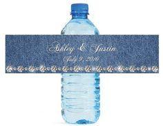 Denim & Diamonds Wedding Water Bottle Labels by MyWonderfulLabels