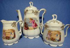 Antique Child's German Teddy Bear 21 Piece Tea Set