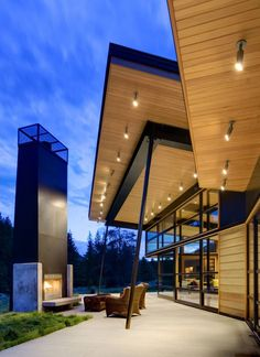 "culminate in an outdoor room: ""River Bank House"" (Big Sky, Montana) by Balance Associates Architects"