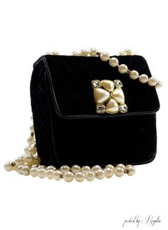 AHH! Black Velvet Purse, With A Strand Of Pearls, What More Could You Want!!!