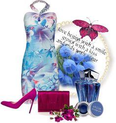 """* Water Floral Dress & Manolo Blahnik Heels *"" by hrfost1210 on Polyvore"