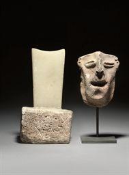 A SOUTH ARABIAN ALABASTER AND LIMESTONE STELE CIRCA 1ST CENTURY B.C./A.D.