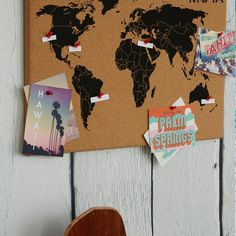 For crafty explorers cork board with a world map different color for crafty explorers cork board with a world map different color pins for where youve been and where you want to go with postcards from diff pinteres gumiabroncs Image collections