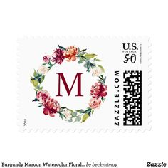 Add stamps to all your different types of stationery! Find rubber stamps and self-inking stamps at Zazzle today! Custom Postage Stamps, Floral Wreath Watercolor, Monogram Wreath, Self Inking Stamps, Address Labels, Burgundy, Stationery, Papercraft, Paper Mill