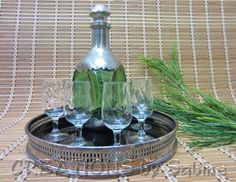Decanter Bar Set, RARE 1930s Royal Holland Daalderop Hammered Pewter Decanter, Dutch, Green, silver plated WA Tray, 5 glasses, Vintage $79 + FREE SHIPPING