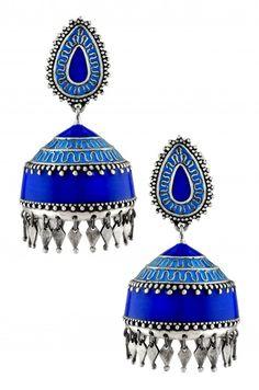 Silver Blue Enamel Zig Zag Rhomb Droplet Jhumka