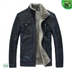 Mens Blue Fur Leather Jacket CW819421 - m.cwmalls.com